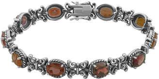 FINE JEWELRY Genuine Garnet Oxidized Sterling Silver Tennis Bracelet
