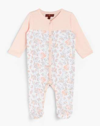 7 For All Mankind Girl's 0-9 Footie in Seashell Pink