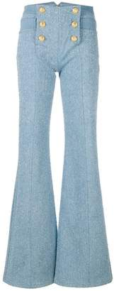 Balmain 6 button flocked wide leg jeans