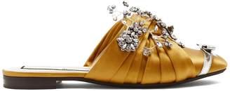NO. 21 Crystal-embellished satin slides