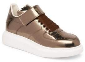 Alexander McQueen Ankle Strap Leather Platform Sneakers