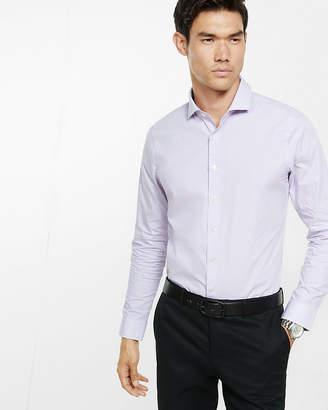 Express Slim Fit Micro Print Long Sleeve Dress Shirt
