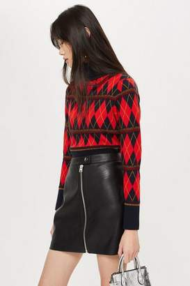 Topshop Argyle Roll Neck Top