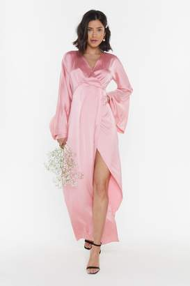 Nasty Gal Womens Aisle See You There Bridal Satin Maxi Dress - Pink - 6, Pink
