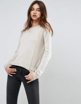 Asos Sweater With Crew Neck And Panel Detail