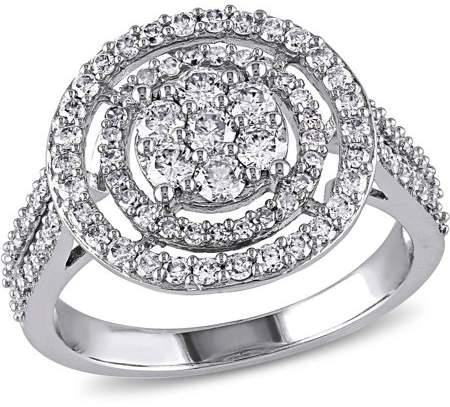 Miabella 1 Carat T.W. Diamond 10kt White Gold Double-Halo Engagement Ring