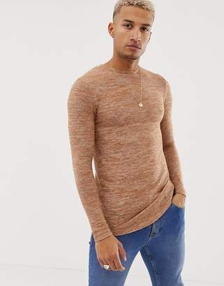Asos Design DESIGN muscle fit longline long sleeve t-shirt with curved hem in brushed fabric in tan