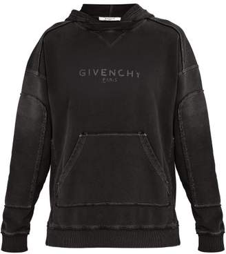 Givenchy Distressed Logo Print Cotton Hooded Sweatshirt - Mens - Black