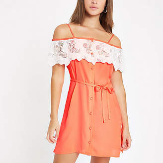 River Island Womens Bright Orange applique trim bardot dress