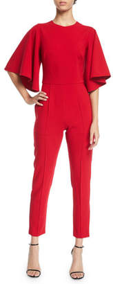 Black Halo Milla Flared-Sleeve Fitted Jumpsuit