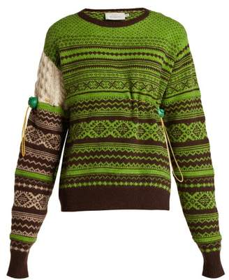 Preen by Thornton Bregazzi Moira Fair Isle Knit Wool Blend Sweater - Womens - Green Multi