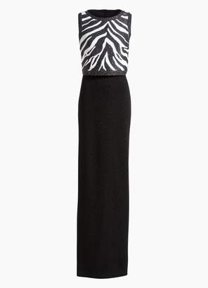 St. John Sleeveless Zebra Knit Gown