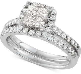 Macy's Diamond Square Halo Bridal Set (1-1/4 ct. t.w.) in 14k White Gold