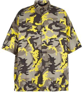 Balenciaga Camouflage Print Padded Shirt - Mens - Grey