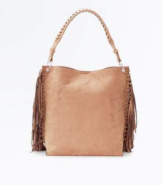 New Look Mink Suedette Fringe Side Hobo Bag
