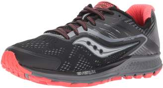 Saucony Women's Ride 10 Reflex Running Shoes, Black/Coral