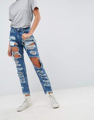Asos Original Mom Jeans In Authentic Mid Wash With Extreme Super Busts