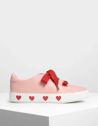 Charles & Keith Heart Print Oversized Lace Sneakers