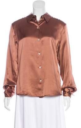 Neiman Marcus Silk Button-Up Top