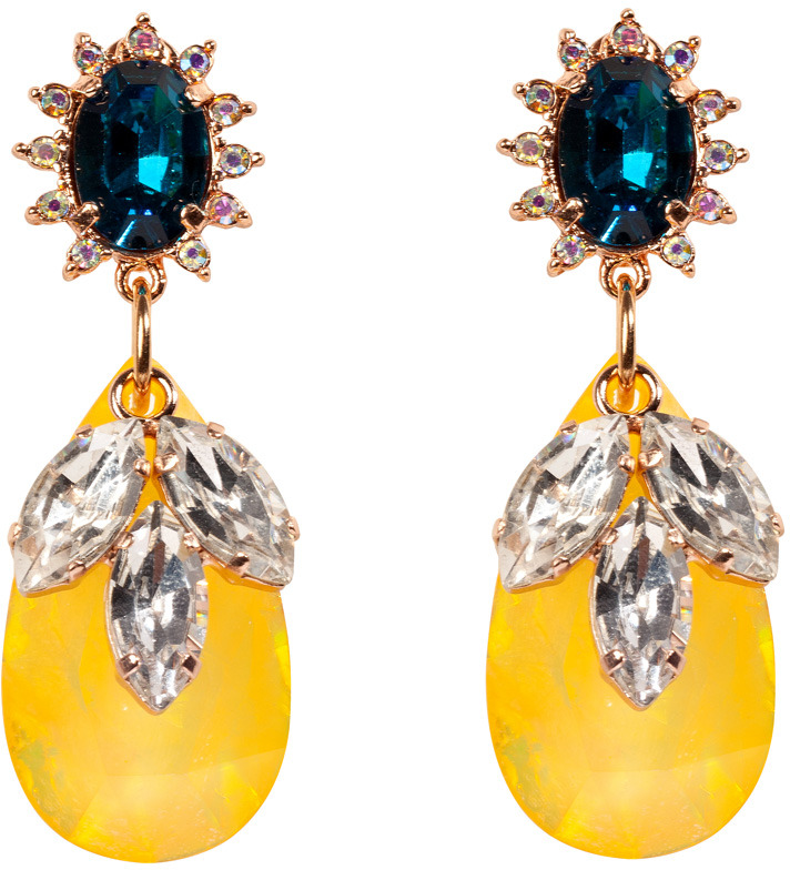Mawi Rose Gold-Plated Daisy Gemstone Earrings and Teardrop