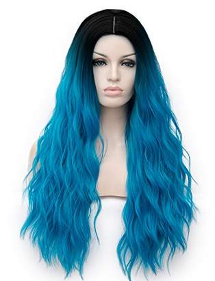 Amback Dye Dark Roots Cosplay Halloween Wig for Women Curly Wave Hair Wigs Cap
