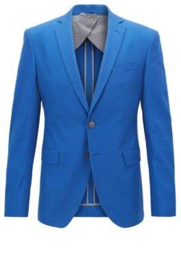 BOSS Hugo Extra-slim-fit jacket in Italian stretch-cotton 42R Open Blue