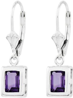 Sterling Emerald-Cut Gemstone Dangle Lever BackEarrings