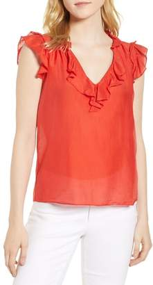 Velvet by Graham & Spencer Silk and Cotton Ruffled Top