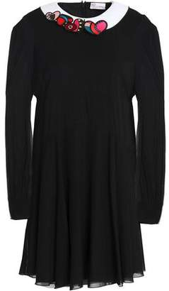 RED Valentino Embroider-Trimmed Silk-Blend Voile Mini Dress