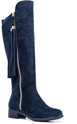 GC SHOES GC Shoes Womens Marlo Over the Knee Boots Flat Heel Zip