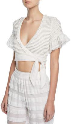 Jonathan Simkhai Knit Combo Side-Tie Crop Top