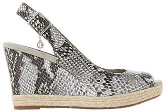 Dune Klicks Wedge Heel Sandals, Grey Leather