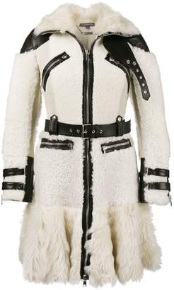 Alexander McQueen Buffalo leather trimmed biker coat