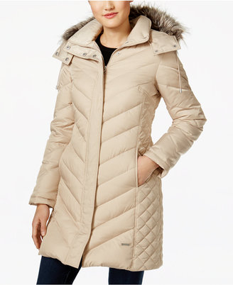 Kenneth Cole Faux-Fur-Trim Chevron Quilted Down Coat $245 thestylecure.com