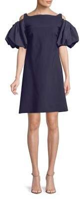 Chiara Boni Cold-Shoulder Puff-Sleeve Dress