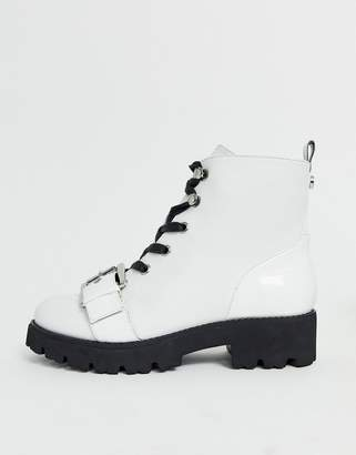 Steve Madden lace up military boot in white