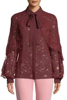 Elie Saab Tie-Neck Long-Sleeve Lace & Tulle Evening Blouse