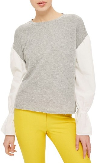 Topshop Women's Topshop Mixed Media Sweatshirt