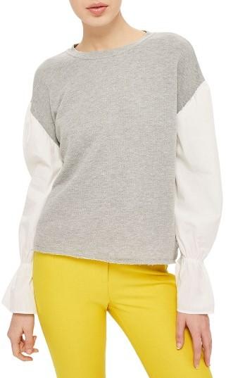 TopshopWomen's Topshop Mixed Media Sweatshirt
