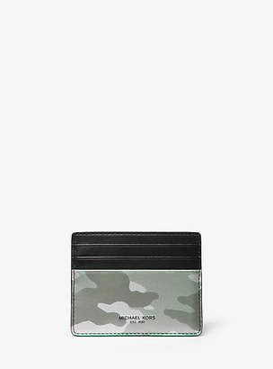 Michael Kors Kent Camo Metallic Leather Card Case