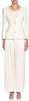 Giorgio Armani Tuxedo Jacket & Wide-Leg Pant Suit Set, White $5,795 thestylecure.com