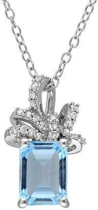 Laura Ashley Sterling Silver Sky Blue Topaz & 1/10 Carat T.W. Diamond Bow Pendant $700 thestylecure.com