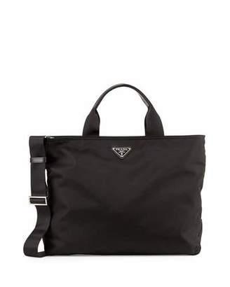 Prada Vela Tote Bag w/ Zip Top & Web Strap