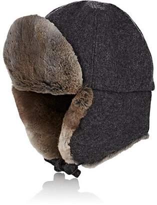 Crown Cap Men's Fur-Trimmed Melton Aviator Hat - Charcoal