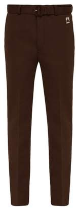 Prada Belted Straight Leg Technical Jersey Trousers - Mens - Dark Brown