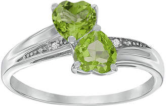 JCPenney FINE JEWELRY Genuine Peridot and Diamond-Accent Sterling Silver Double-Heart Ring
