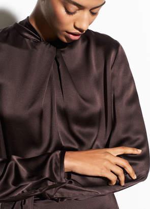 Silk-Satin Neck Knot Blouse