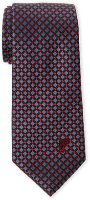 Versace Red Basketweave Dot Silk Tie