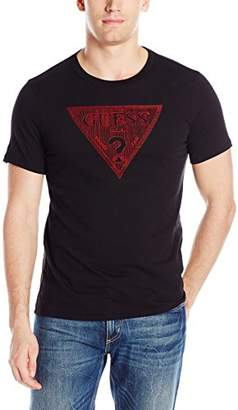 GUESS Men's Embroidery Triangle Crew Neck T-Shirt