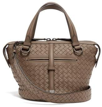 Bottega Veneta Tambura Small Intrecciato Leather Bag - Womens - Grey